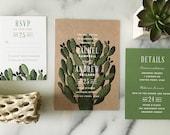 Sample - Boho Desert Cactus Wedding Invitation, southwestern wedding invitation, succulent wedding invitation