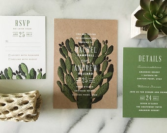 Boho Desert Cactus Wedding Invitation - Sample