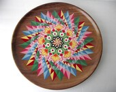 Hand Painted Wooden Tray Rainbow Geometric 16 Inches