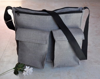 Diaper bag, nappy bag, large zipper diaper bag for dad or mom, unisex baby bags, grey sectional diaper bag, adjustable gray crossbody