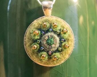 "OOAK Needle Felted Kaleidoscope Pendant - ""Summer Forest"""