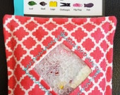 I Spy Bag - Mini with SEWN Word List and Detachable PICTURE LIST- Coral Quatrefoil