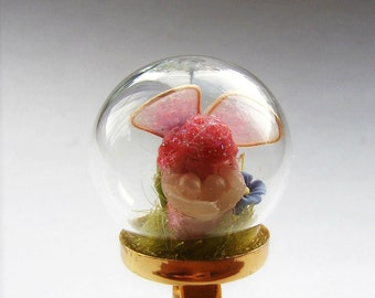 Pink Fairy Terrarium Glass Globe Ring