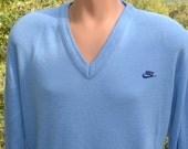 vintage 70s NIKE sweater v-neck swoosh blue tag shirt Large Medium 80s unc