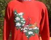 vintage 80s sweatshirt CHRISTMAS glitter crazy xmas snowflake cardinal raglan crew neck sweater Medium Large red
