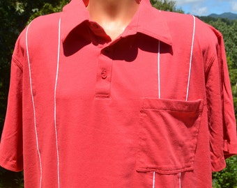 vintage 80s golf shirt polo JOHN BLAIR preppy red stripe piping yacht XXL 2xl xl