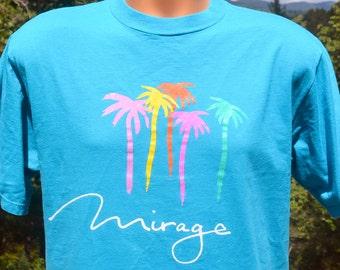 vintage t-shirt 80s MIRAGE casino las vegas hotel neon rainbow palm trees tee shirt Large Medium teal