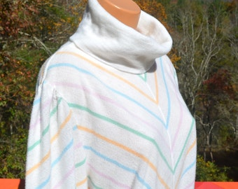 70s vintage turtleneck sweater CHEVRON soft cowl rainbow stripe preppy jumper women's Large 38