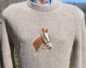 vintage 70s sweater HORSE western equestrian preppy knit Medium Small 80s lord jeff wtf