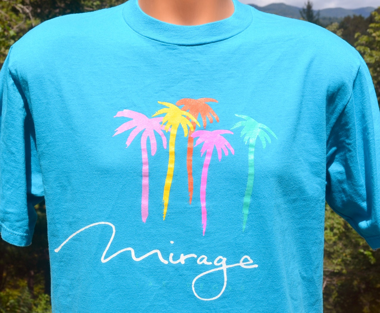 Vintage t shirt 80s mirage casino las vegas hotel neon rainbow for Same day t shirt printing las vegas