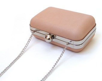 Dusky pink box clutch, handmade leather purse, leather minaudière, handbag with chain