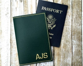 Monogram passport cover for men - personalized travel gift - block monogram - faux leather passport cover - groomsman gift -gift for him