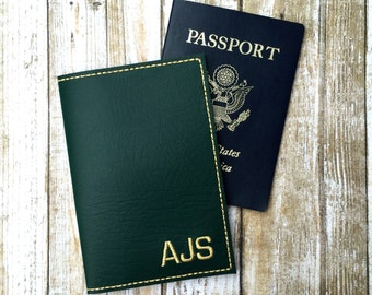 Monogram passport cover for men - personalized travel gift - block monogram - faux leather passport cover - groomsman gift - gift for him