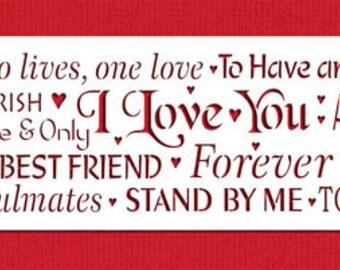 Words of Love Cake Side Stencil - Designer Stencils (C942)