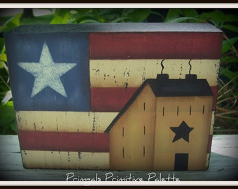 Americana Saltbox House Wood Shelf Sitter Block