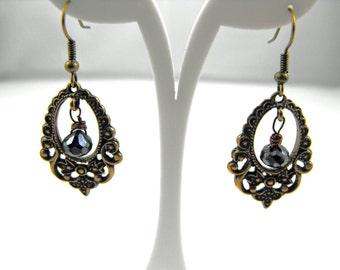 Pretty Bronze Ornate Floral Drop Black Spinel earrings