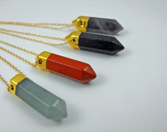Beautiful 14kt gold Electroplated Six Point Gemstone Pendant Necklace