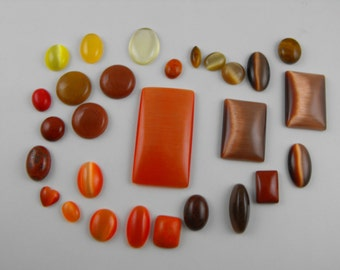 Jewelry Supply Destash! Destash red, orange, brown, and yellow Cabochon Lot 25+ Pc # 2140
