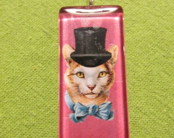 Glass pendant pink cat in a hat graphic for necklace