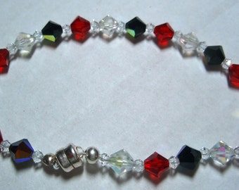 Black, Red, and White Crystal Bracelet