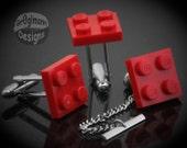 LEGO Cufflinks & Tie Tack Set Red