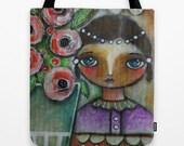 Eastern peony girl art tote bag  with double sided image - Artist Elisabetta Monnini