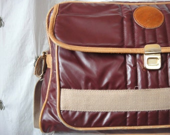 Vintage Rich Burgundy and Caramel Carry On Bag, Luggage, Suitcase, Padded, Vinyl, Dapper