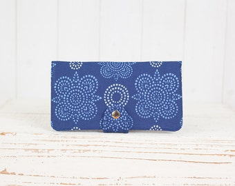 Handmade Wallet - BiFold Clutch Wallet  / Taj in Indigo Blue -- Ready to Ship