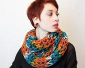 SALE Soft and Chunky Cowl scarf vegan hookedwear turquoise pumpkin amber white grey