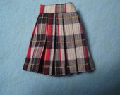 Blythe Black/Red Plaid Pleated Skirt for Pullip and Vintage Skipper Too!