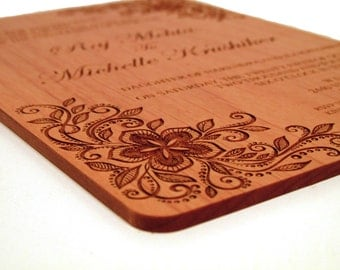Floral Lace Wood Wedding Invitation - Real Wood Invitation