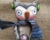 woodland owl Christmas Decoration with scarf and mercury glass folk art Sculpture Ready to Ship