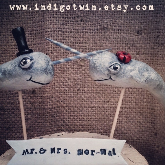 Beachy Narwhal cake topper  for your Rustic Beach Wedding Made To Order