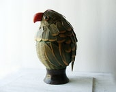 Parrot Shaped Basket with a Bright Red Beak