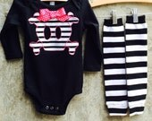 Girls Halloween Skull Baby Bodysuit or Kids Shirt, Leg/Arm Warmer Set - Great Gift for Costumes, Photo Shoots, Birthdays and Baby Showers