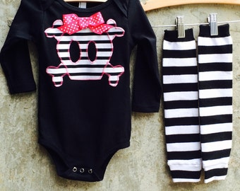 Girls Halloween Skull Baby Bodysuit or Kids Shirt, Leg/Arm Warmer Set - Great Gift for Costumes, Photo Shoots, Birthdays and Baby Showers