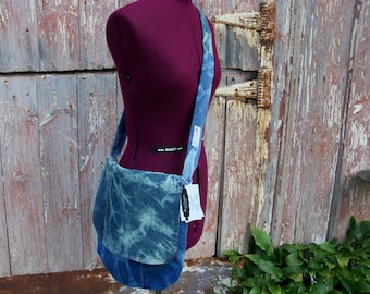 Upcycled Denim Messenger Bag Purse with Multi Color Striped Vintage Fabric Lining