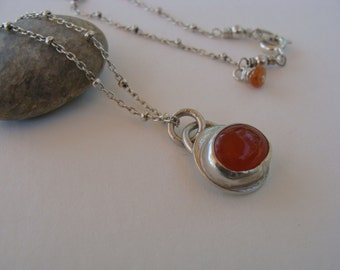 Carnelian Cabochon Sterling Silver Artisan Necklace