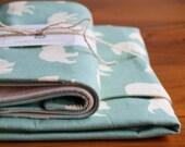 Organic Baby Blanket and Burp Cloth Gift Set in BEAR HIKE MINERAL; Aqua Ivory Bear, Woodland Organic Baby Gift Set (Last Set)