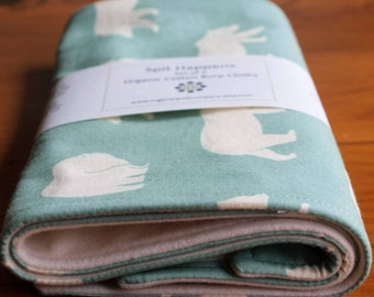 Organic Burp Cloth, Set of Two in BEAR HIKE MINERAL; Aqua Blue and Ivory Bear, Woodland Burp Cloths Gift Set of 2 (Last Set)