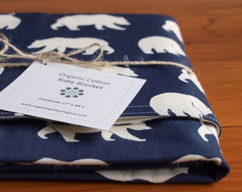 Organic Baby Bear Blanket; Navy Blue Ivory Bear Blanket, Woodland Baby Blanket Gift, Organic Blanket for Baby Boy or Camping Theme
