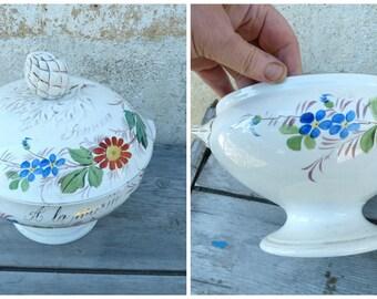 Vintage Antique 1900 old French  Soupiere à la Mariée /Floral /Wedding gift ceramica soup tureen