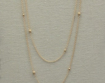 Very Long Gold Filled Necklace, Gold or Silver Layered Necklace, Layering Jewelry, Beaded, Chain, Stardust Bead, Dainty Necklace