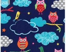Owls & Birds on Royal Blue, Robert Kaufman Fabric, Garden Owl, Blue, Creatures and Critters, Amy Schimler, Cotton Fabric - 1 YARD