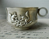 Vintage baby Cup with Squirrels  -  Silver plate Baby Cup with box.