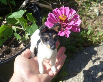 Needle Felted Dog  / Custom Pet Portrait Sculpture by GERRY Poseable Lifelike / example Toy Fox Terrier / Gift Idea
