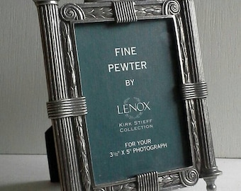Kirk Stieff Fine Pewter Lenox Photo Picture Frame Roman Greek Columns Leaves