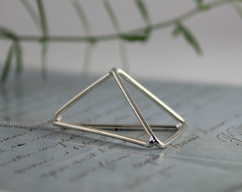 Minimalist, geometric 3-D open triangle necklace - statement necklace, Himmeli inspired, sterling silver