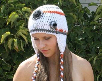 BB8 Droid Ear Flap Hat ~ Newborn to Adult Sizes