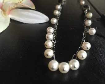 skull necklace boho style oxidized sterling silver and pearls